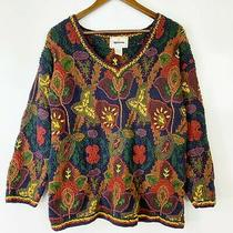 Express Tricot Handknitted 90's Vintage Sweater Multi Dimensional Floral Texture Photo