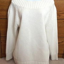 Express Tricot Ivory Sweater Open Neck Long Sleeve Sz S / 1 Photo