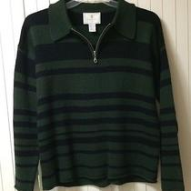 Express Tricot Sz S Black & Green Acrylic Stripe Collared Pullover Sweater Cozy Photo