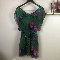Express Tropical Floral Chiffon Dress Size Small Photo
