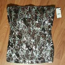 Express Tube Top Strapless Grays Sequins Sexy Medium New With Tags  Photo