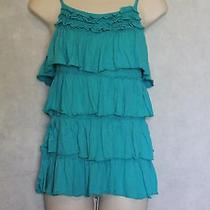 Express Turquoise Blue Tiered Layered Ruffle Tank Cami Size S Summer Cute Photo