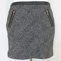 Express Tweed Mini Skirt Sz 6 Black White Faux Leather Trim Gold Zipper Pockets Photo
