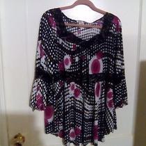 Express U 2x  Blackwhite and Pink Polka Dots Blouse Photo