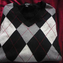 Express v-Neck Argyle Cotton Sweater Mens Size Medium Black/white/grey Pattern Photo