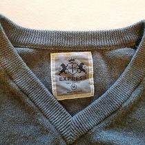 Express v-Neck Cotton Sweater Gray Size M Photo