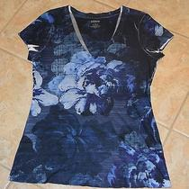 Express v Neck Graphic Tee Floral With Rhinestones Blue Size Medium Photo