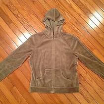 Express Velour Hoodie Size L Olive Green Photo