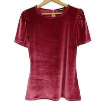Express Velvet Top Women's Size M Velour Puff Short Sleeve Keyhole Back Burgundy Photo