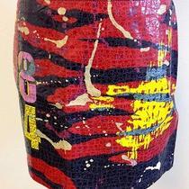 Express Vintage Cotton Coated Color Zip Back Plain Front Mini Skirt Sz 9/10 P331 Photo