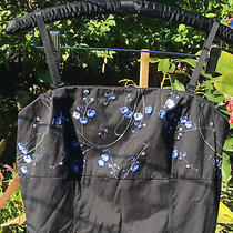Express Vintage Rockabilly Pinup Black W/ Blue Removable Straps Dress  Photo