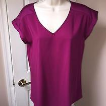 Express Violet Purple v Neck Silk Blouse Cuffed Sleeve Size Small  Photo