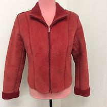 Express Vtg 80's 90's Red Suede Leather Jacket Fleece Lined S Worn Flawed Grunge Photo