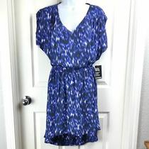 Express Watercolor Hi Lo Dress Blue Black White S Photo