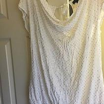 Express White and Gold Open Back Shirt L Photo