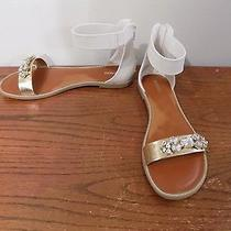 Express White Ankle Strap Sandals With Jewel Accents on Toes 8 Euc Photo
