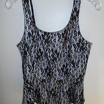 Express White & Black Lace Corset Top Peplum Waist Zipper Back Size Small Photo