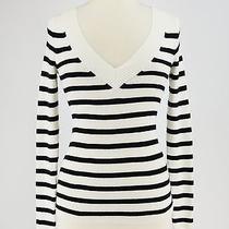 Express White Black Striped Cotton Blend v Neck Sweater Size Xs Photo