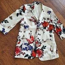 Express White Blazer Open Front Multi Color Flowers Career Wear Sz Large  Photo
