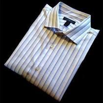 Express White & Blue Striped Modern Fit Button Down Shirt - Xl Photo