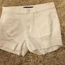 Express White Denim Shorts Size 8 Mint Condition Never Worn Cutoffs Distressed Photo