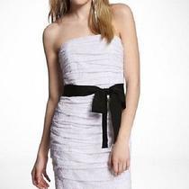 Express White Eyelet Ruched Strapless Dress Size 12 Photo