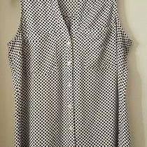 Express White Polka Dot Sleeveless Portofino Women's Shirt Size Small Photo