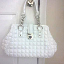 Express White Quilted Handbag Purse Kisslock Chain Straps 60 Classic Satchel Photo