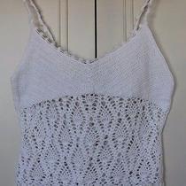 Express White Ramie Cotton Crochet Hand Knit Sleeveless Crop Tank Top Large Size Photo