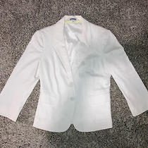 Express White Womens 2 Button Mid-Sleeve Ivory Fitted Blazer Size 6 Worn Once Photo