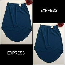 Express Woman Career Formal High & Low Skirt Blue Size Xs Brand New  Photo