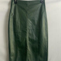 Express Woman Lewther Pencil Green Skirt Size 2  Photo