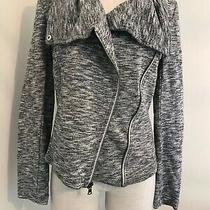 Express Woman Sweater Petite Size S Gray Button Cropped Pockets  Photo