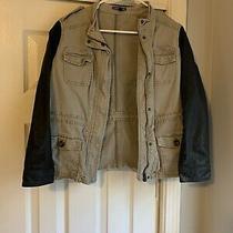 Express Womans Olive Green Cargo Utility Jacket Leather Sleeve Size S Photo