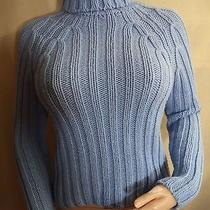 Express Womans Turtleneck Cableknit Sweater Powder Blue Wool Blend Sz Small Vgc Photo