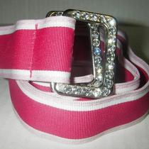 Express Women Belt Pink Rhinestone Canvas Striped Ribbon Size Small/medium Photo