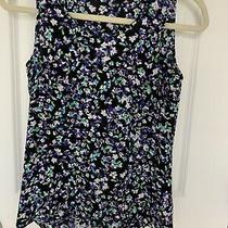 Express Women Black Blue Floral Print Sleeveless High Low Top Size Xs Photo