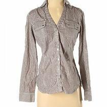 Express Women Black Long Sleeve Button-Down Shirt S Photo