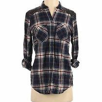 Express Women Black Long Sleeve Button-Down Shirt Xs Photo