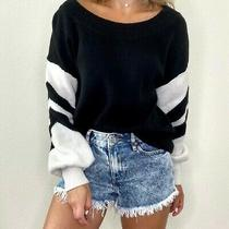 Express Women Black & White Sweater Sz Xs Off Shoulder Colorblock Puff Sleeve  Photo