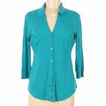 Express Women Blue Long Sleeve Button-Down Shirt M Photo