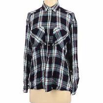Express Women Blue Long Sleeve Button-Down Shirt S Photo