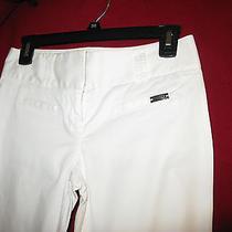 Express  Women Capri's Size 0 Cropped White  Stretch Belt Loops Mint Photo