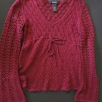 Express Women Crochet Lacy Mesh Sweater High Waist Long Sleeve v-Neck Euc Photo