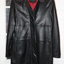 Express Women Genuine Leather Black Jacket Size 1/2 Photo