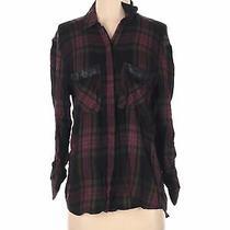 Express Women Green Long Sleeve Button-Down Shirt S Photo