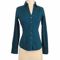 Express Women Green Long Sleeve Button-Down Shirt Xs Photo