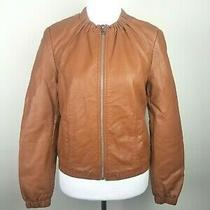 Express Women Jacket Small Vegan Leather Cropped Brown Crew Neck  Photo