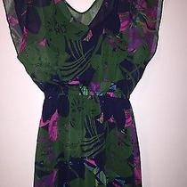 Express Women Ladies Dress Size Small Floral Tropical Sheer Cap Sleeve Photo