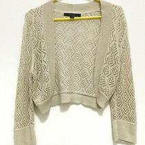 Express Women Long Sleeve Brown or Tan Open Knit Geometric Crop Shawl Medium Photo